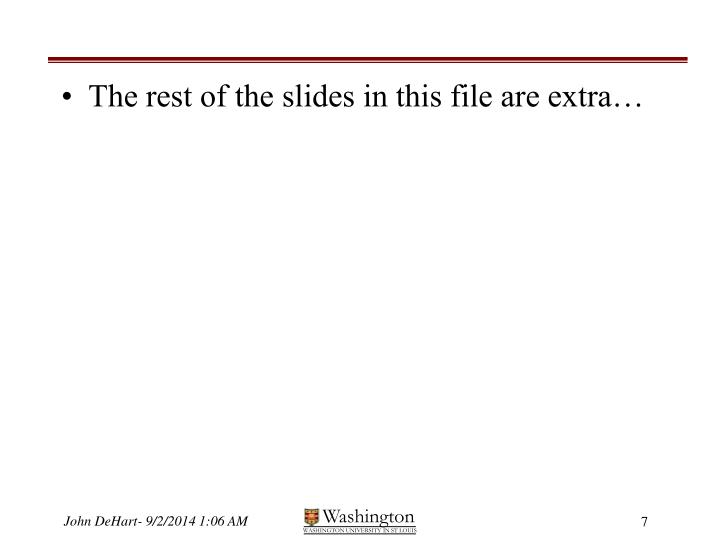 The rest of the slides in this file are extra…