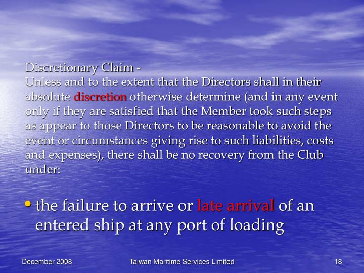 Discretionary Claim -