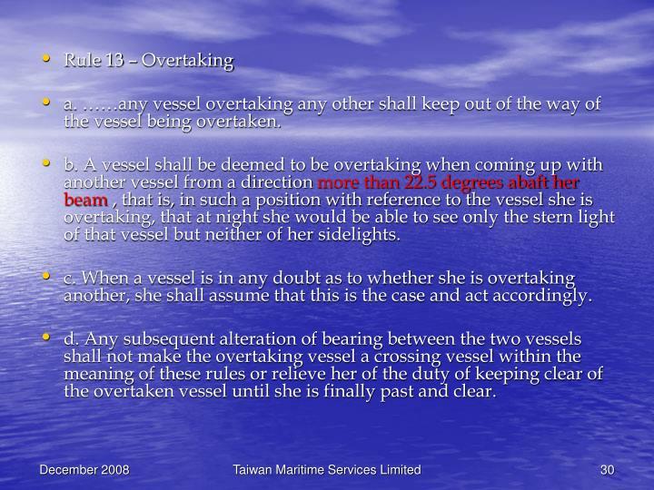 Rule 13 – Overtaking