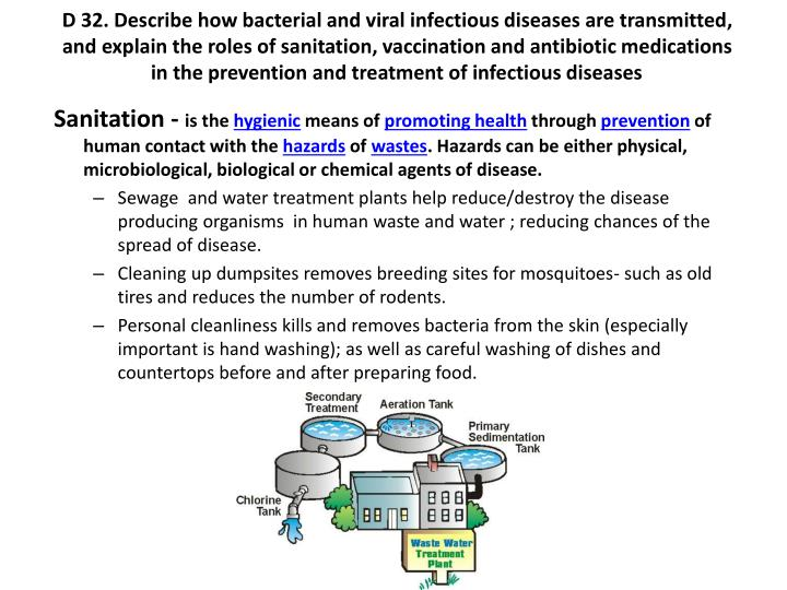 D 32. Describe how bacterial and viral infectious diseases are transmitted, and explain the roles of sanitation, vaccination and antibiotic medications in the prevention and treatment of infectious diseases
