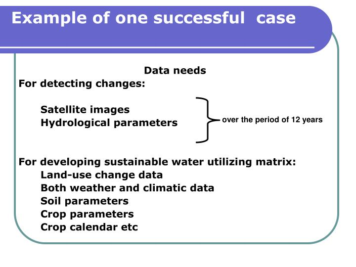 Example of one successful  case