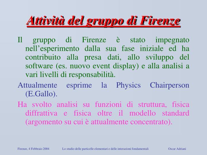 Attività del gruppo di Firenze