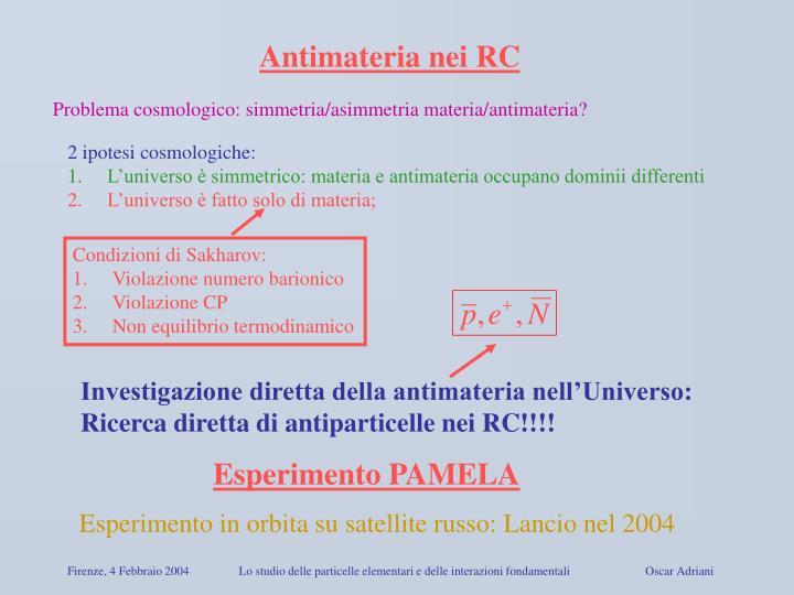Antimateria nei RC