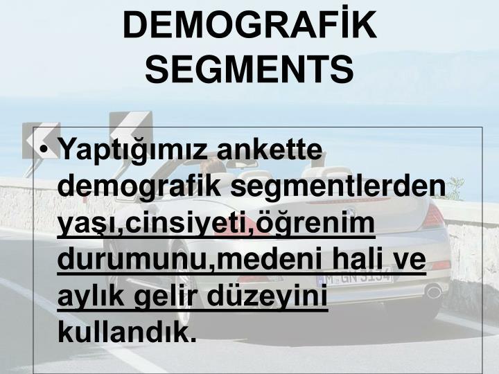 DEMOGRAFİK SEGMENTS