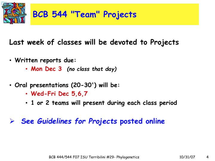 "BCB 544 ""Team"" Projects"