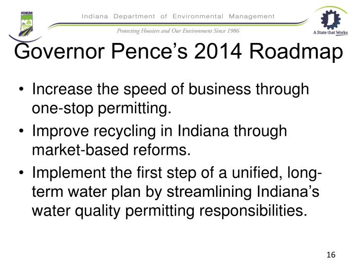 Governor Pence's 2014 Roadmap