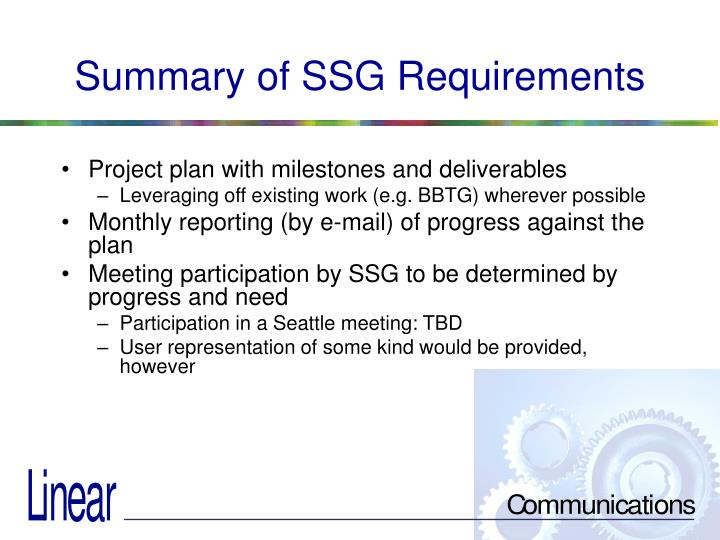 Summary of SSG Requirements