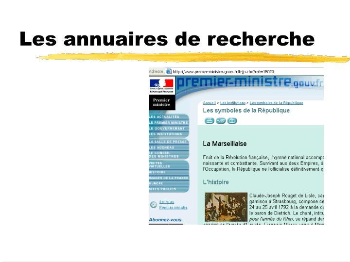 Les annuaires de recherche