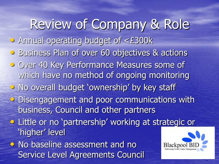 Review of company role