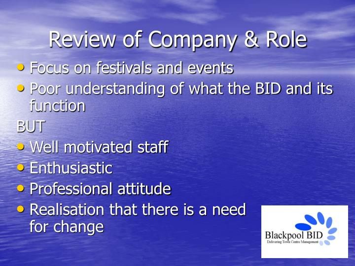 Review of Company & Role