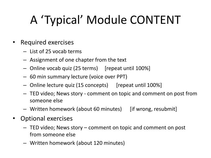 A 'Typical' Module CONTENT