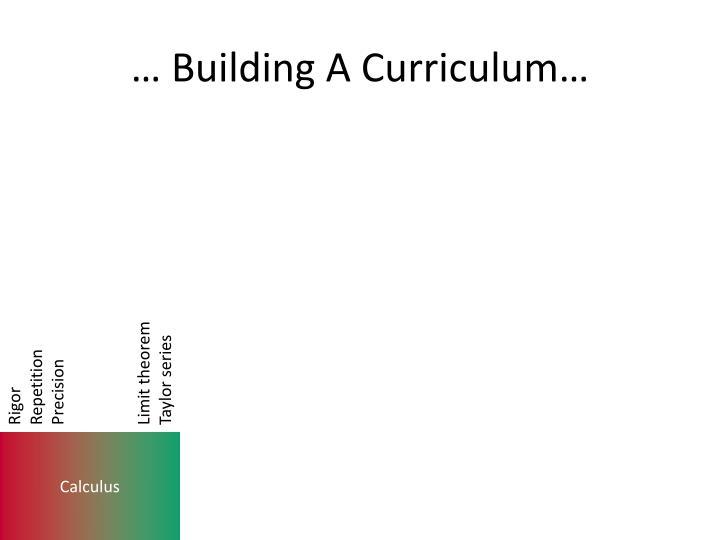 … Building A Curriculum…