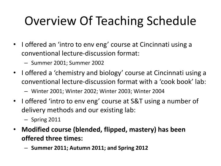 Overview Of Teaching Schedule