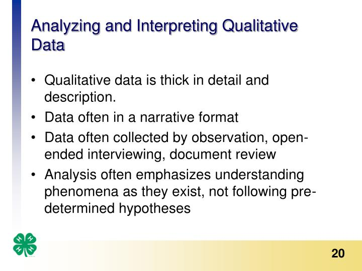 analyzing and interpreting data Answering the questions that count david ronka, mary ann lachat and use the questions as a lens for data analysis and interpretation their analysis of the data led the teams to define questions about the progress of cohorts of students as they moved from one grade to the next.