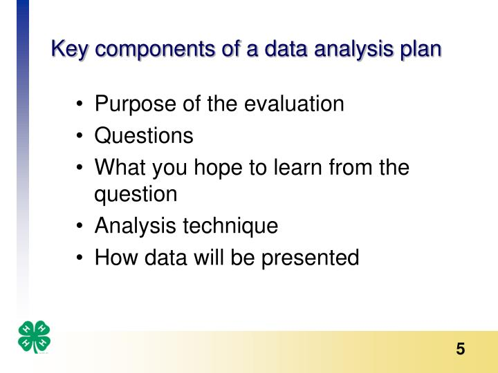 Key components of a data analysis plan