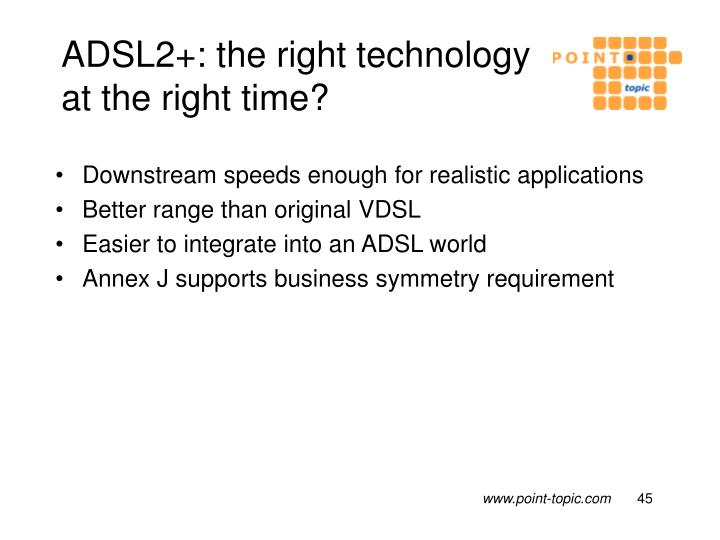 ADSL2+: the right technology