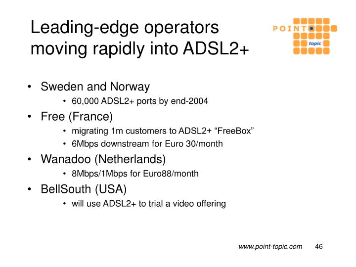 Leading-edge operators moving rapidly into ADSL2+