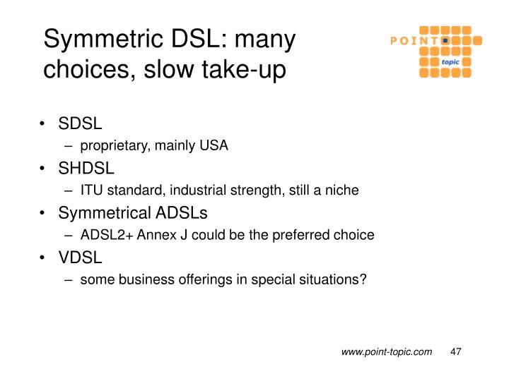 Symmetric DSL: many choices, slow take-up