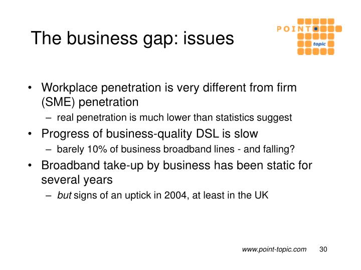 The business gap: issues