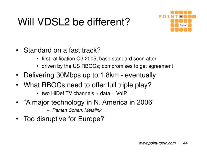Will VDSL2 be different?