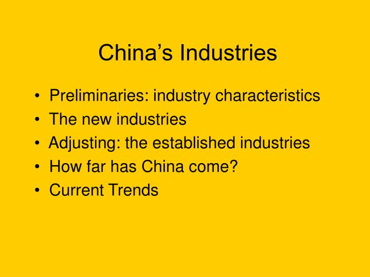 China s industries