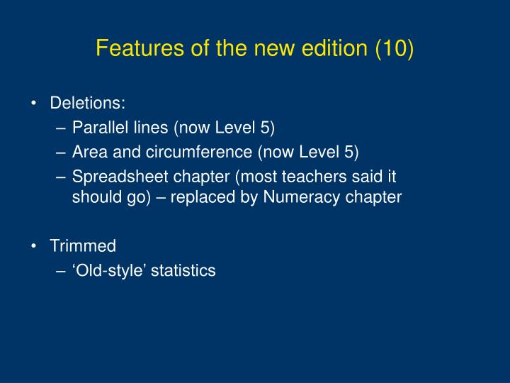 Features of the new edition (10)