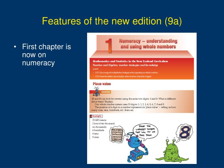 Features of the new edition (9a)
