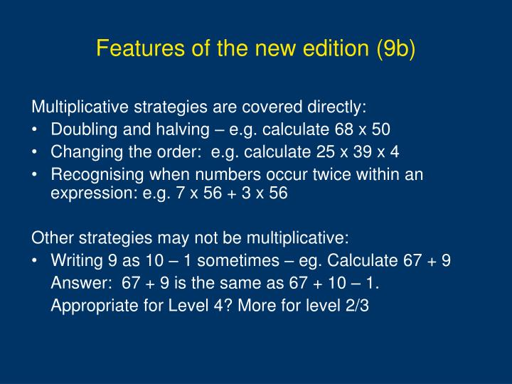 Features of the new edition (9b)