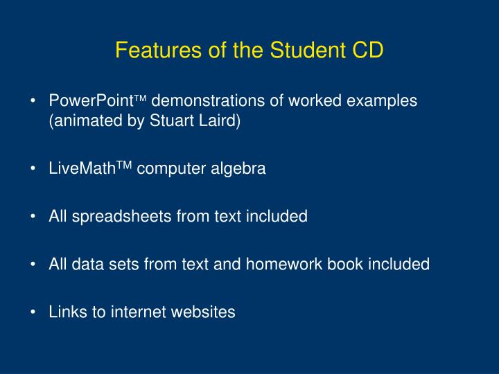 Features of the Student CD