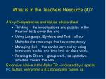 what is in the teachers resource 4
