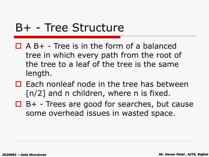 B tree structure