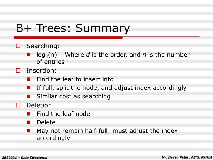 B trees summary