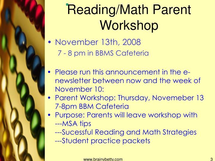 Reading/Math Parent Workshop