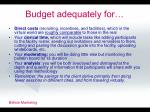 budget adequately for