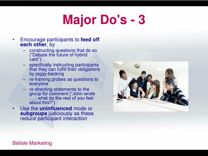Major Do's - 3