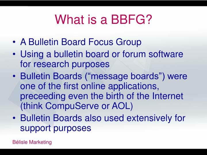 What is a BBFG?
