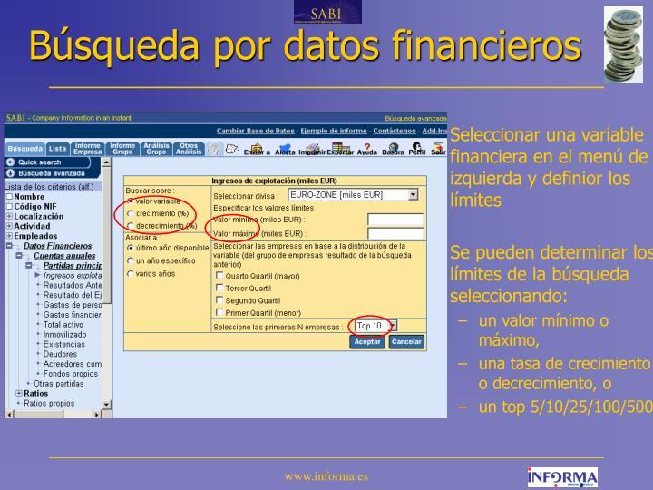 Búsqueda por datos financieros
