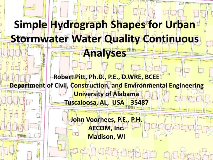 Simple Hydrograph Shapes for Urban Stormwater Water Quality Continuous Analyses