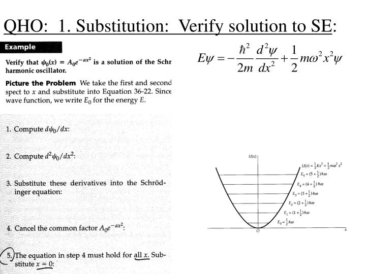 QHO:  1. Substitution:  Verify solution to SE