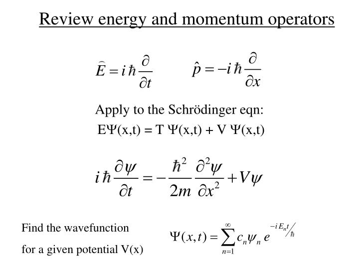 Review energy and momentum operators