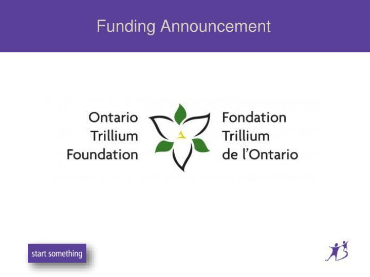 Funding announcement