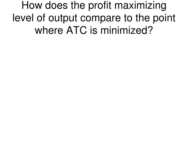 How does the profit maximizing level of output compare to the point where ATC is minimized?