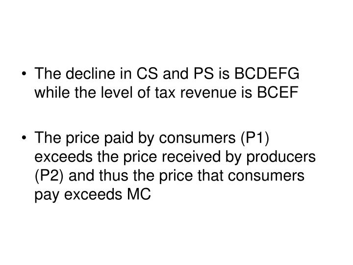 The decline in CS and PS is BCDEFG while the level of tax revenue is BCEF