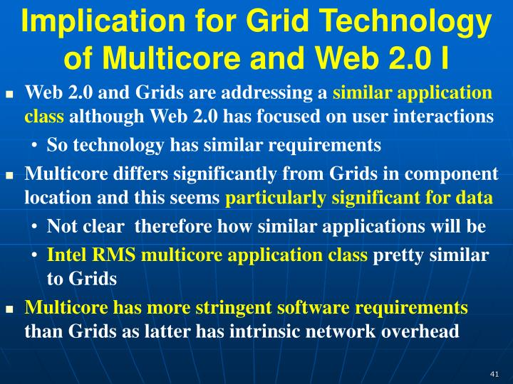 Implication for Grid Technology of Multicore and Web 2.0 I