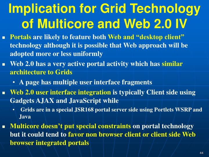 Implication for Grid Technology of Multicore and Web 2.0 IV