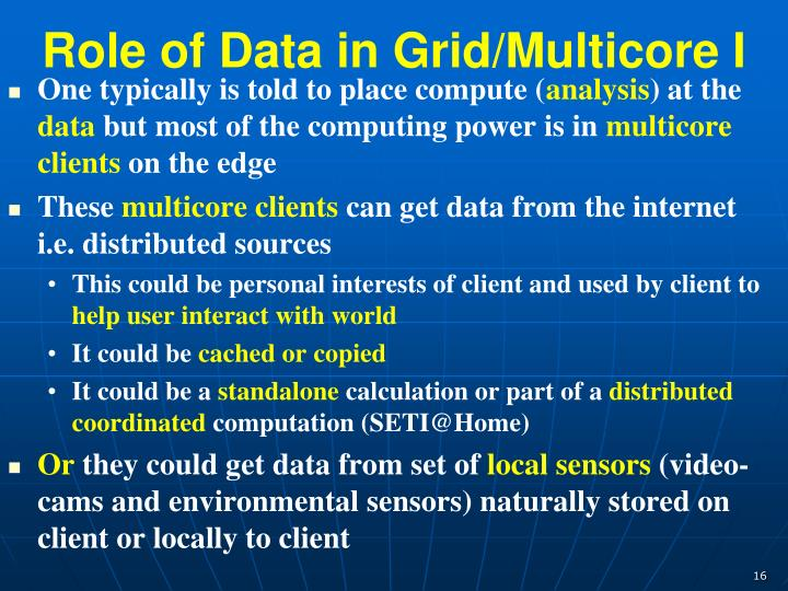 Role of Data in Grid/Multicore I