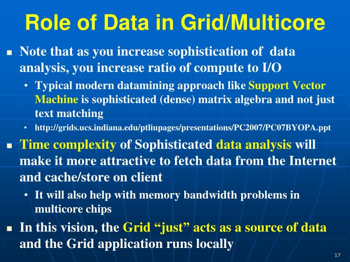 Role of Data in Grid/Multicore