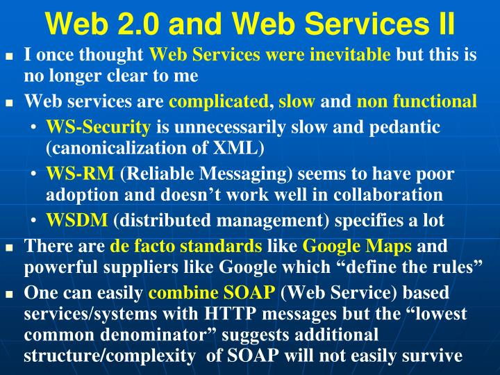 Web 2.0 and Web Services II