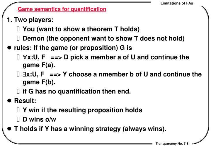 Game semantics for quantification