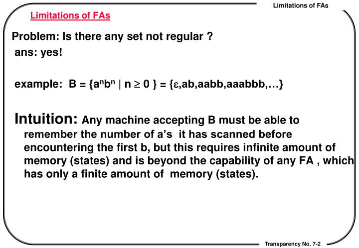 Limitations of FAs
